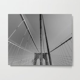 Brooklyn bridge lines, New York | Abstract NYC artwork | Black and white art photography Metal Print