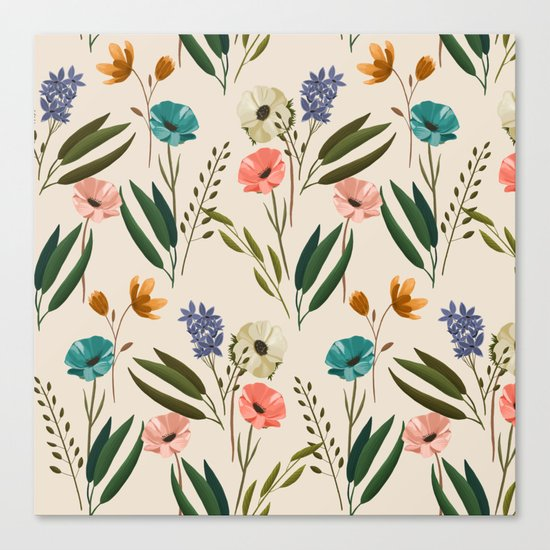 Floral 247 Cream Canvas Print