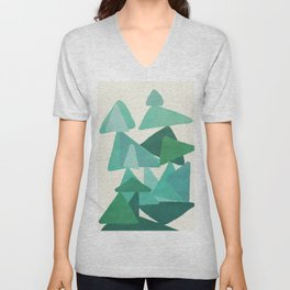 Green Colored Triangles Unisex V-Neck