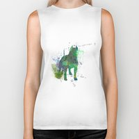 pitbull Biker Tanks featuring Green Pitbull by Candice Boux