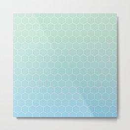 Cyan honeycomb Metal Print