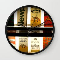 cigarette Wall Clocks featuring Cigarette Machine by Lesley Ross Media
