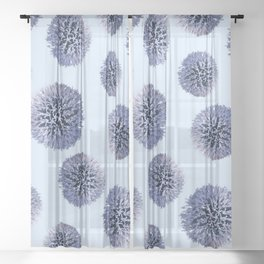 Monochrome - Starry night on the thistle globe Sheer Curtain