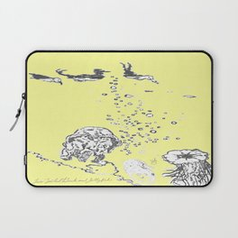 Two Tailed Duck and Jellyfish Baby Yellow Laptop Sleeve
