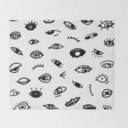 Bad Eyes (White) Throw Blanket