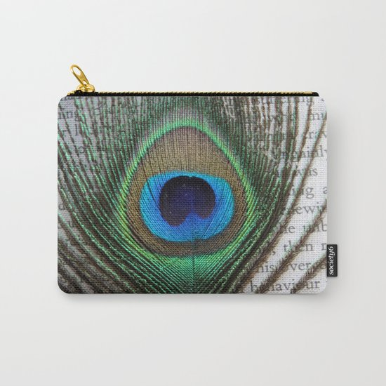 Peacock Feather on Old Paper  Carry-All Pouch