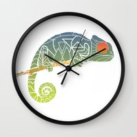 chameleon Wall Clocks featuring Chameleon by soycocon