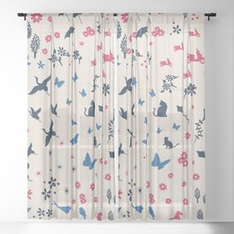 A walk in the park ditsy doodle print Sheer Curtain