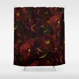 Mystical Night Rose & Poppy Garden Shower Curtain