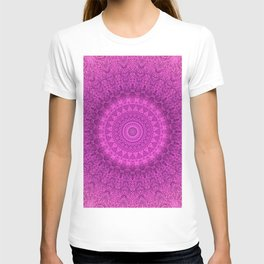 Sunflower Peacock Feather Bohemian Pattern \\ Aesthetic Vintage \\  Bright Fuchsia Pink Color Scheme T-shirt