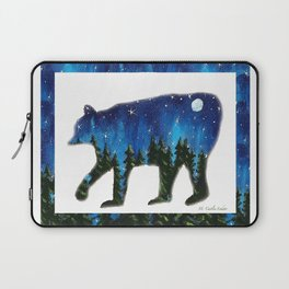 Bear Silhouette with a Night Forest Laptop Sleeve