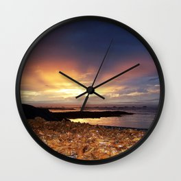 Seaweed Beach Sunset Wall Clock