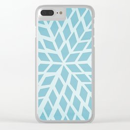 Light blue, diamond, mosaic pattern. Moroccan tile. Clear iPhone Case