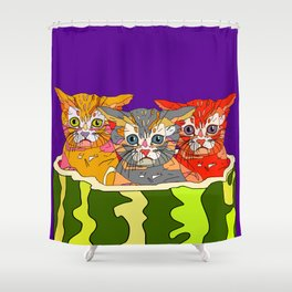 Cats in Watermelon Jacuzzi - Tropical Shower Curtain