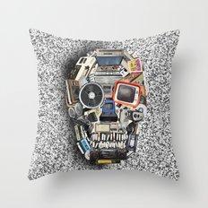 retro tech skull 5 Throw Pillow