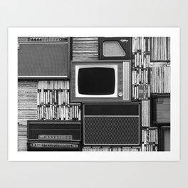 Everything Retro (Black and White) Art Print