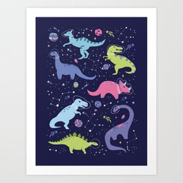 Dinosaurs in Space Art Print