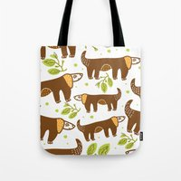 dogs Tote Bags featuring Dogs by LOLIA-LOVA