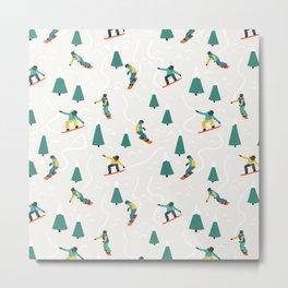 Snowboarding Illustration Pattern Metal Print