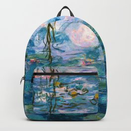 Water Lilies Monet Teal Backpack
