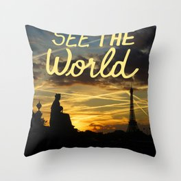Sunset in Paris Throw Pillow