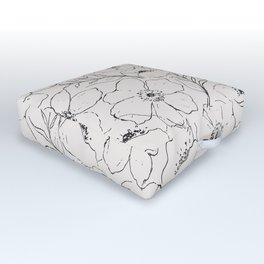 Floral Simplicity - Neutral Black Outdoor Floor Cushion