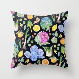 Winter Harvest Pattern Dark Throw Pillow
