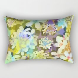 White Blooms with Colorful Overlay from the Forest Floor Rectangular Pillow