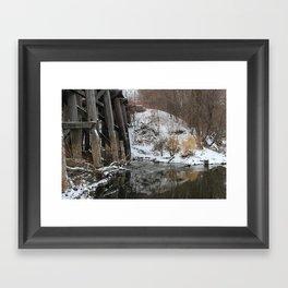 Winter River-Train Bridge Photo  Framed Art Print