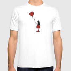 Girl with a Heart-Shaped Balloon White Mens Fitted Tee MEDIUM