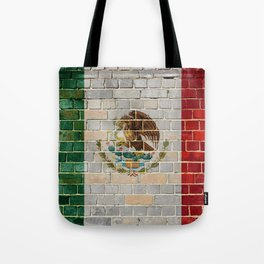 Mexico flag on a brick wall Tote Bag