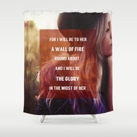 pocketfuel Shower Curtains featuring WALL OF FIRE by Pocket Fuel