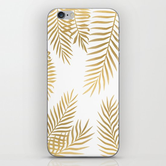 Gold palm leaves iPhone Skin