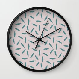 Pillow Fight,Teal on Rose Wall Clock