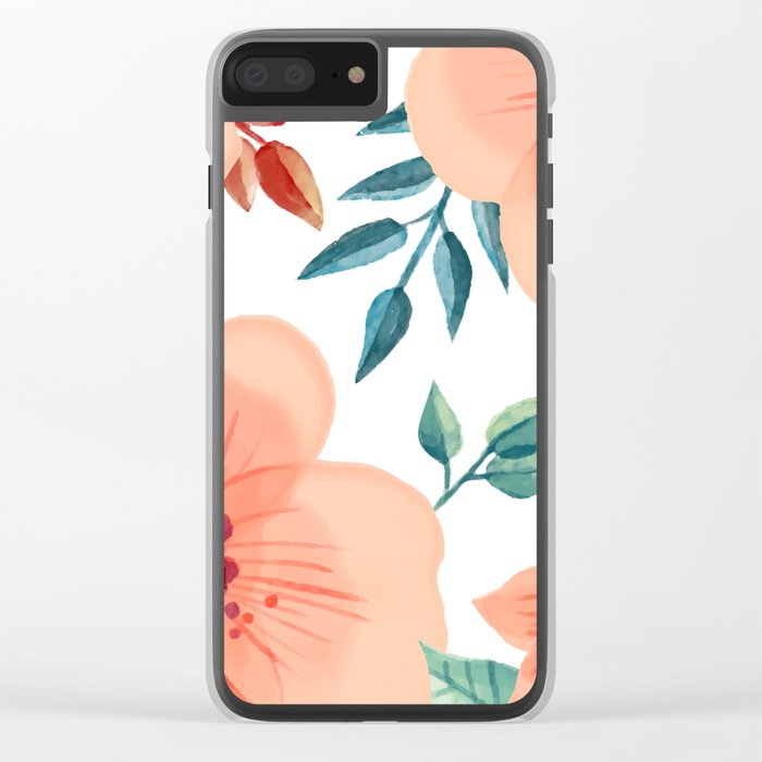 FLOWERS WATERCOLOR 2 Clear iPhone Case