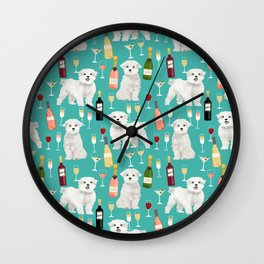 Maltese wine pattern dog breed dog portrait pet friendly pet art champagne Wall Clock