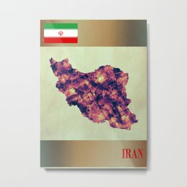 Iran Map with Flag Metal Print