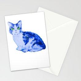 Feline Blue, Cat print Stationery Cards