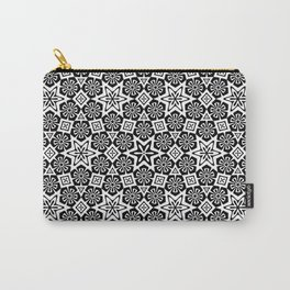 Polygon Flowers - Color: Black&White Carry-All Pouch