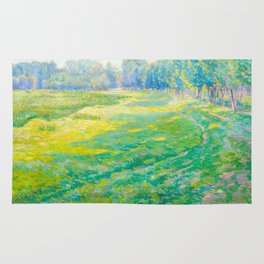 Václav Radimský (1867-1946) On the Dike Colorful Impressionist Landscape Oil Painting Rug