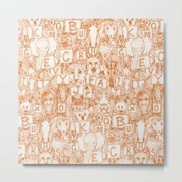 animal ABC orange ivory Metal Print