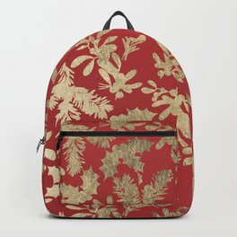 Abstract Red Gold Christmas Mistletoe Holly Floral Backpack