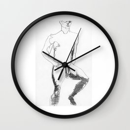 Male Nude Figure Drawing Study Wall Clock