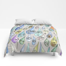 raindrops with personality, cool light gray grey Comforters