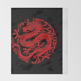 Traditional Red Chinese Dragon Circle Throw Blanket