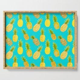 Pineapple Doodles On Aqua Serving Tray