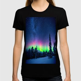 Aurora Borealis Over Wintry Mountains T-shirt