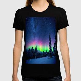 Aurora Borealis Over Wintry Mountains T-shirt