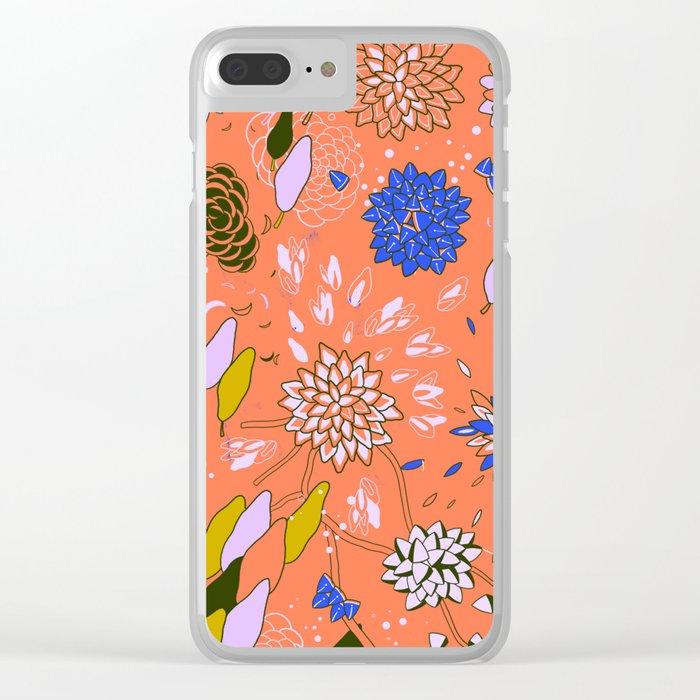 Orange Flower Pattern Clear iPhone Case