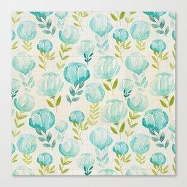 Vintage Aqua Blossoms Canvas Print